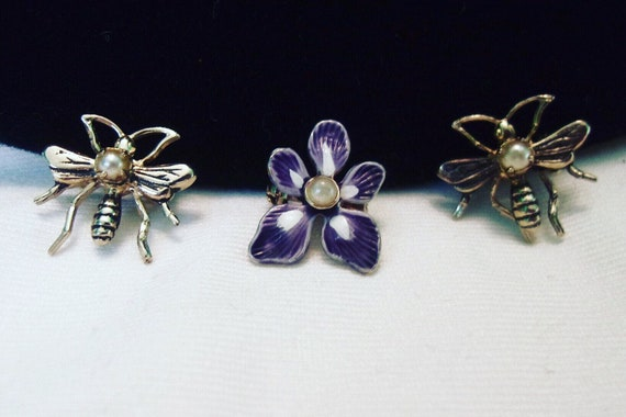 Vintage Insect Bug & Purple Pansy Flower Scatter B
