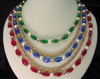 Crown Trifari Jewels of India Red Blue Green Glass Gold Bead Necklace Serpentine Chain