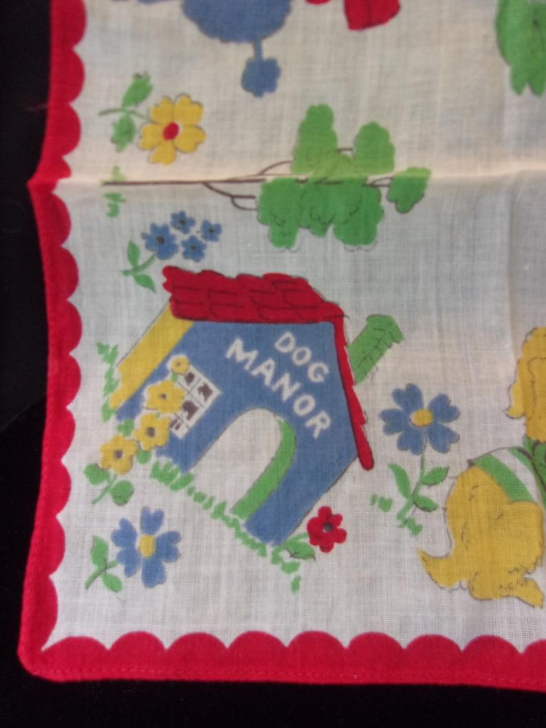 Dog Manor House Puppy Romance Cotton Handkerchief Scarf Print Green Red Blue White Vintage Hankie