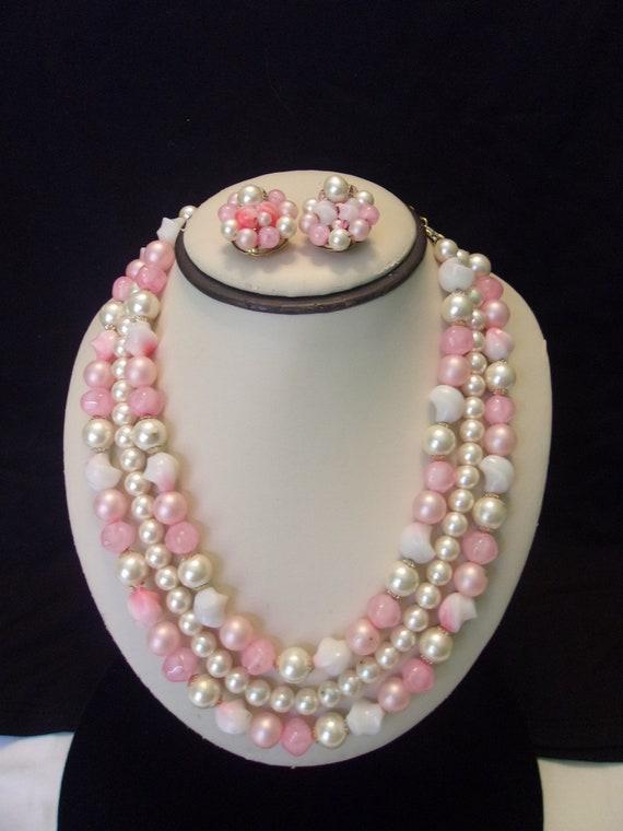 Hong Kong Vintage 1950's Faux Pearl & Pink Bead La