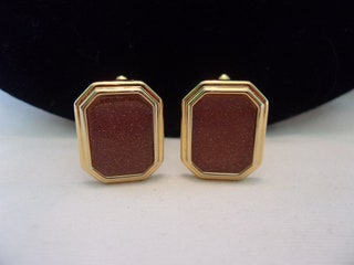 Vintage Men's Art Deco Revival Gold Tone Faux Carnelian Stone Geometric Toggle Back Cufflinks