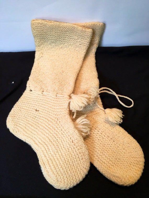 Vintage Handmade Knit Yellow Baby Booties