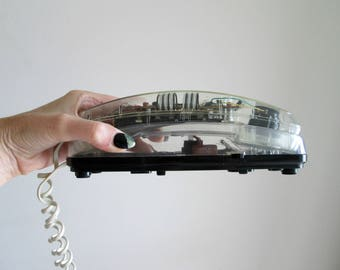 1980s Clear Phone Long Cord Vintage Unisonic See-Through Clear Telephone