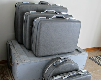 Vintage American Tourister Suitcase Set of 5 Charcoal Gray Crosshatch Pattern Locking Suitcases Fabric Lining Perfect for Travel or Display