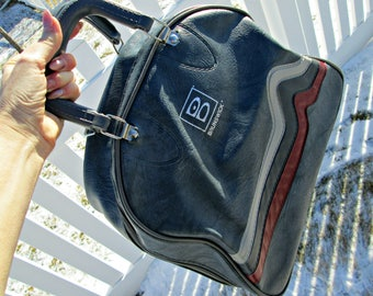 Vintage Brunswick Bowling Bag | Gray Marbled Pleather with Heart Beat Stripes | EXCELLENT Condition | Rockabilly Brunswick Bowling Bag