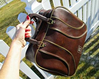 Vintage Bowling Bag | Brunswick Chocolate Brown Retro Stripes Bowling Bag | EXCELLENT! | Retro Rockabilly Big Lebowski Style Bowling Bag
