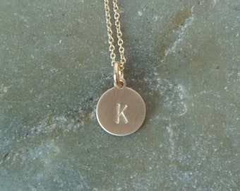 Gold Disc Initial Necklace  -  Small 9mm 14K Gold Filled Disc - Hand Stamped Initial - Texture Options - Layering Necklace