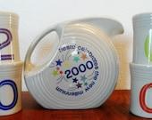 Fiestaware HLC Homer Laughlin 2000 Millnennium Celebration Disc Grey Pitcher Tumblers Discontinued