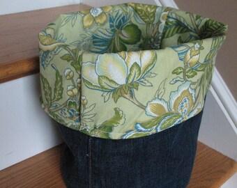 Denim and floral Fabric Storage Bucket Caddy Bin Basket Organizer