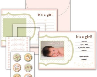 Little Yellow Bicycle Snugglebug Girl Baby Announcement Kit
