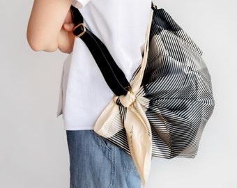 Folded Paper Furoshiki Black & Adjustable Leather carry strap (Black) set