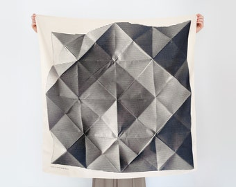 Free Shipping Worldwide / Folded Paper furoshiki (black) Japanese eco wrapping textile/scarf, handmade in Japan