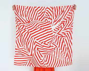 Free Shipping Worldwide / Stripe furoshiki (red) Japanese eco wrapping textile/scarf, handmade in Japan