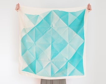 Free Shipping Worldwide / Folded Paper furoshiki (green) Japanese eco wrapping textile/scarf, handmade in Japan
