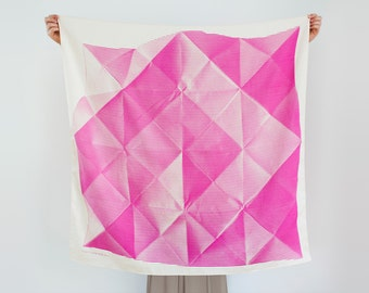 Free Shipping Worldwide / Folded Paper furoshiki (pink) Japanese eco wrapping textile/scarf, handmade in Japan