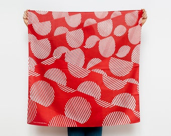 Free Shipping Worldwide / Dots furoshiki (rust) Japanese eco wrapping textile/scarf, handmade in Japan