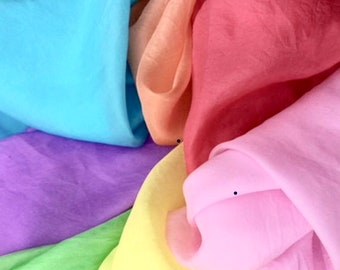 PURE SILK - Hand Dyed*** 7 Piece Pack***Rainbow Silk Pack***Best Quality Pageant Craft Silk***Play Silks***Free Shipping in Australia***