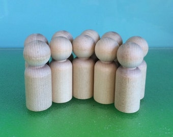 WOOD PEG DOLLS - 10 x Medium 6cms  ** Free Pure Wool Felt Samples and Basic pattern- on request**Steiner toys**Peg Doll Family**Waldorf Toys