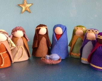 WALDORF NATIVITY SCENE**7 Christmas Dolls**Mary & Joseph*Baby Jesus* 2 shepherds* 3 Kings** Advent Craft**Steiner dolls**Made in Australia