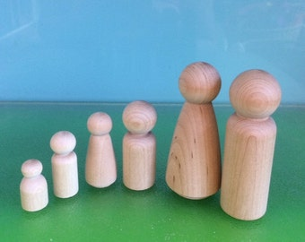 WOODEN PEG DOLLS **Family of 6 *** Free Pure Wool Felt Samples and Basic Pattern - on request**Steiner toys***Peg Doll Family***Waldorf Toys