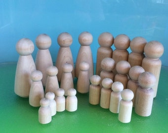 WOOD PEG DOLLs  -  24 Dolls ** Plus Free Basic Pattern & Pure Wool Felt Samples- on request**Steiner Toys***Peg Doll Family***Waldorf Toys