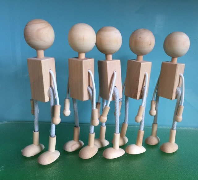 WOOD and WIRE DOLLS - 5 X 15 cms dolls bases, Bendy Dolls, D I Y dolls**** Free patterns for clothes Included****