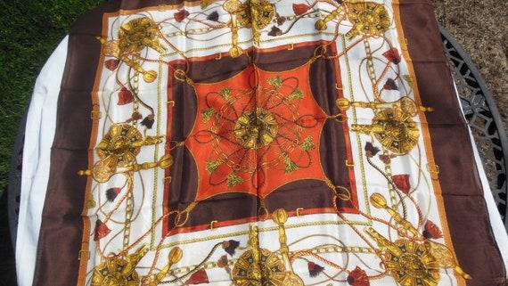 Vintage Sasha Scarf, Brown, Tan Ropes, Chains & L… - image 1