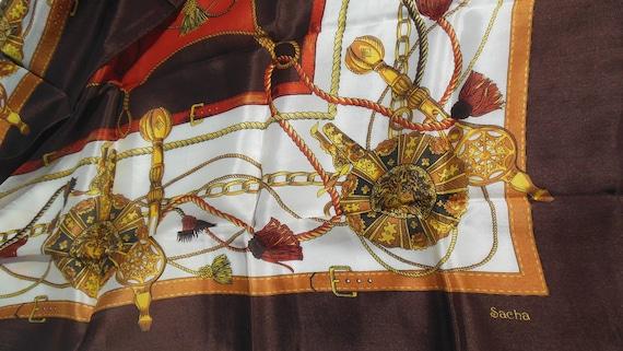 Vintage Sasha Scarf, Brown, Tan Ropes, Chains & L… - image 2