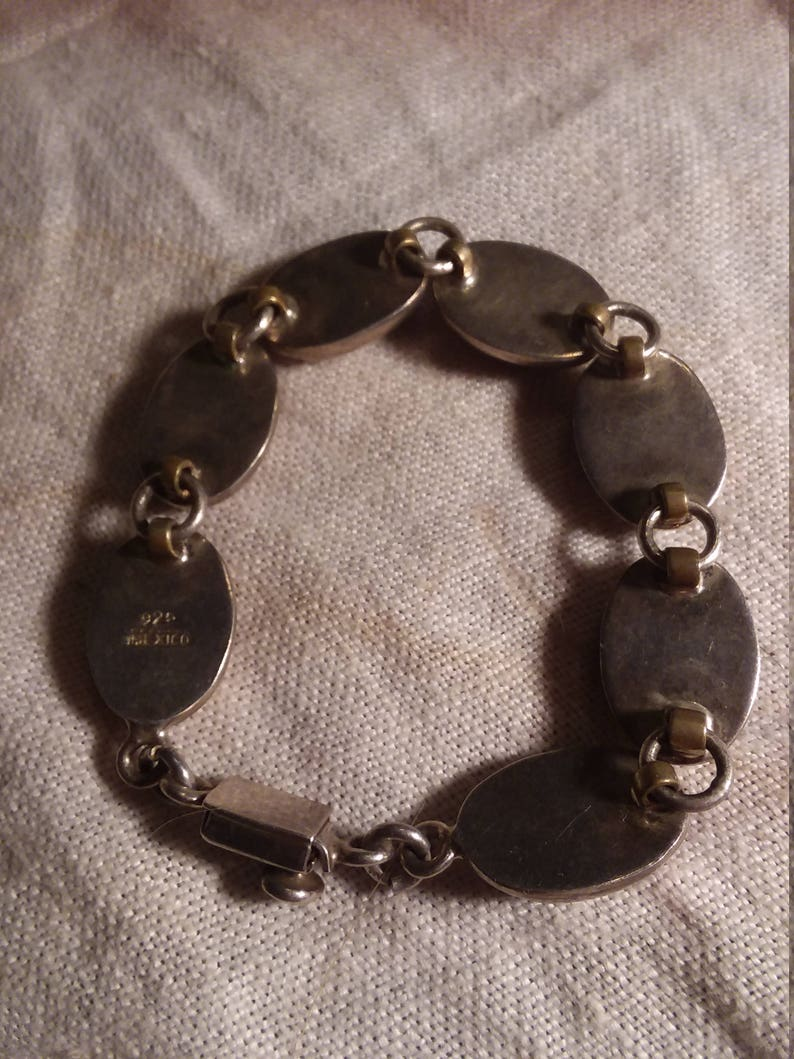 Sterling Silver Bracelet with Oval Natural Stones