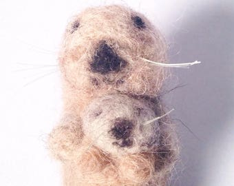 Sea otter with pup needlefelted figurine