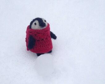Miniature penguin wearing a cashmere sweater miniature figurine - Ready to Ship