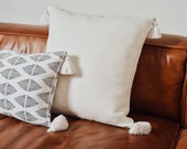 Tia Mowry x Etsy, Willow Tassel Linen Throw Pillow Cover with Brass Zipper, Solid Off-White Monochromatic Cushion for Home