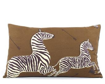 Scalamandre Brown Zebra Lumbar Pillow Cover, Toss Pillow, Accent Pillow, Zebra Pillow, 16x26, Brown Pillow, Right Facing Zebra Migration