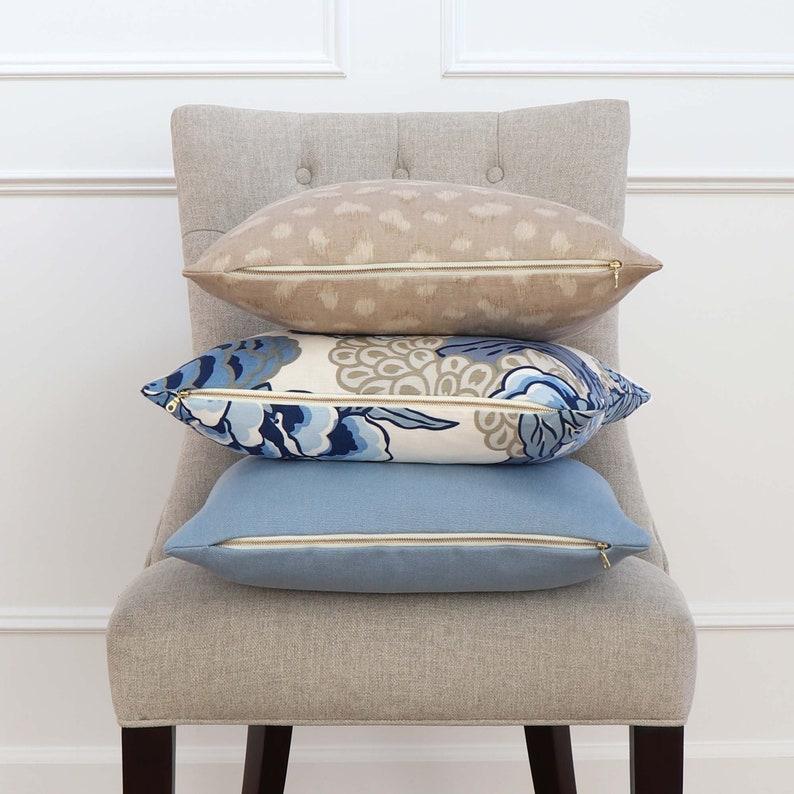 Large Floral Print Lumbar Rectangle Botanic Tan Bedding Botanic Decor Flowery Couch Pillow Thibaut Honshu Blue and Beige Cushion Sham