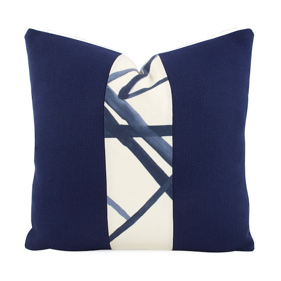 Navy Blue And White Striped Throw Pillow Cover 18x18 24x24 Etsy