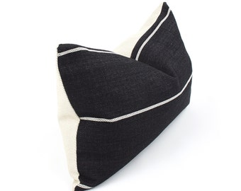 Black Lumbar Pillow Cover with Cream Stripes, Choose Your Size, Woven Pillow, Black and White Pillow, Black Throw Pillow, Streamline