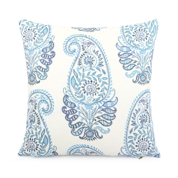 Blue and White Floral Paisley Pillow