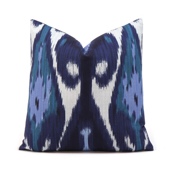 Fantastic Lacefield Uzbek Blue Aqua Ikat Throw Pillow Cover With Zipper For Sofa Custom Size Square Euro Sham Cotton Lumbar Body Pillow Case Evergreenethics Interior Chair Design Evergreenethicsorg