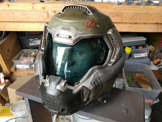 Custom 2016 Doom Guy Helmet With Padding Doomslayer Fan Etsy