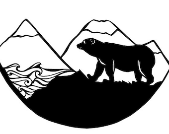 Of Bears and Mountains and Shadows - A4 Original Papercutting