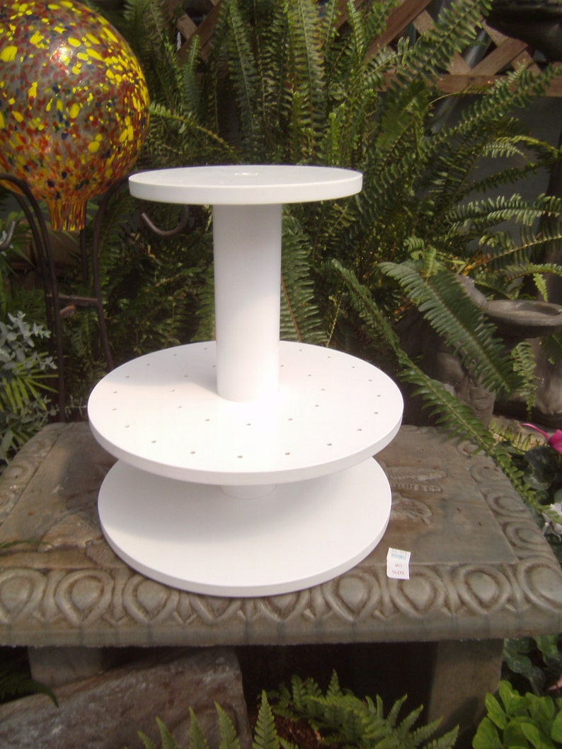 2 Tier Round Unfinished Custom Made Cake Pop Stand Holds 45 Pops.