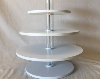 4 Tier Round Custom Made Cupcake Stand With 1/2 Inch Thick Tiers and Clear Spacers. Holds up to 56 Cupcakes.