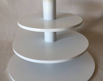 4 Tier Round Larger Capacity Custom Made Cupcake Stand With 1/2 Inch Thick Tiers and No Base.  Holds up to 83 Cupcakes.