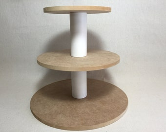 3 Tier Round Larger Capacity Unfinished Custom Made Cupcake Stand With 1/2 Inch Thick Tiers and No Base.