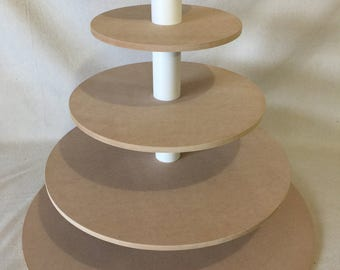 5 Tier Round Extra Large Unfinished Custom Made Cupcake Stand. Holds up to 203 Cupcakes.