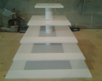 "5 Tier Square Custom Made Cupcake Stand. 1/2 "" Thick Tiers. Holds 200 Cupcakes."