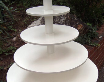 5 Tier Round Extra Large Custom Made Cupcake Stand with Pearl Finish.  Holds up to 203 Cupcakes.