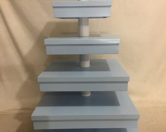 6 Tier Square Custom Made Cupcake Stand With Simulated Gift Box Tiers.  Holds up to 228 Cupcakes