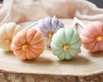 Pumpkin Lollipops - Thanksgiving Gift - Halloween Favors - Pastel Pumpkins - Fall Party ideas - Autumn Party - 6 Pumpkins