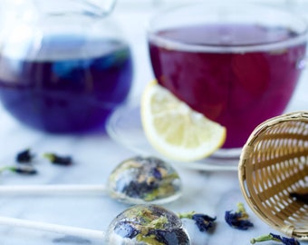 Tea Brewing Lollipops - Butterfly Pea Flower -  Color Changing Edible Flower Lollipop - Tea Lovers Gift - Mothers Day - 5 Organic Flavors